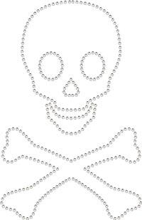 Strassstein Bügelbild / Applikation von Unique (Totenkopf /Crystal)