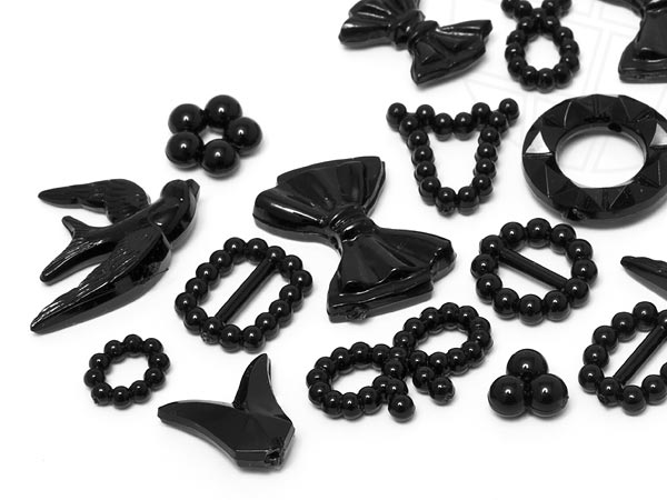 Sew-on Motive in acrylic / plastic of Star Bright | Bow,  7.0 - 22.0mm, Jet Motiv Mix