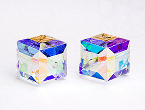 Glass Beads of Swarovski Elements cube   6mm (Crystal-AB)