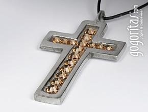 Halskette mit Kreuzanhänger mit Swarovski Elements Strasssteinen besetzt (Light Colorado Topaz)