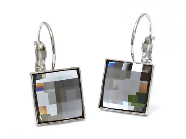 "Pierced Earrings ""Brillante"" with original Swarovski Elements Crystals (Black Diamond / 10,0 mm)"