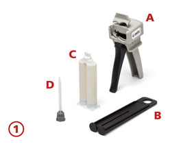 A: Applicator gun, B: Tappet, C: Adhesive cartridges, D: Mixer Tip