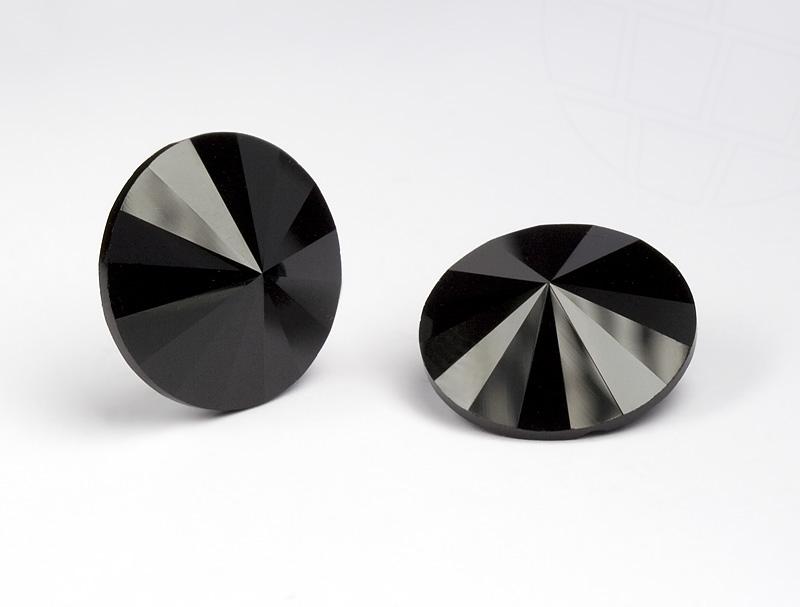 Kristall Knopf von Swarovski Elements rund 16mm (Jet), 24 Stück