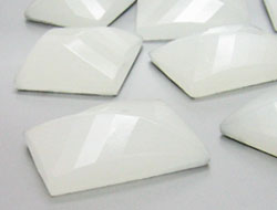 Gemstones | Rhinestones | 22.0x28.0mm, Rectangle, White Alabaster
