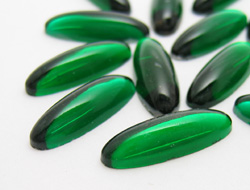 Cabochons | Glass nuggets | Gemstones | Oval,  8.0x23.0mm, Emerald