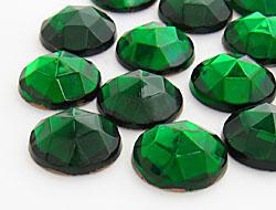 Gemstones | Rhinestones | 15.0mm, Round, Smoked Emerald-Mix