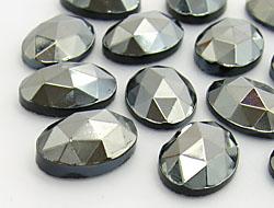 Gemstones | Rhinestones | 10.0x14.0mm, Oval, Jet-Hematite Matt Brilliance Mix