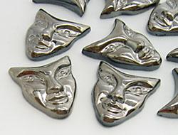 Gemstones | Rhinestones | 22.0x25.0mm, Mask, Jet-Hematite