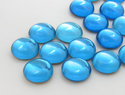 Cabochons | Glass nuggets | Gemstones | Round, 15.0mm, Aquamarine, Second Quality