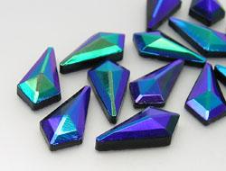 Gemstones | Rhinestones |  8.0x16.0mm, Lozenge, Jet-AB