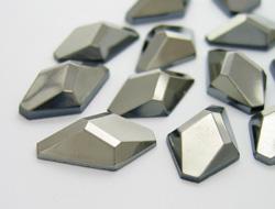Gemstones | Rhinestones | 12.0x20.0mm, Lozenge, Jet-Hematite
