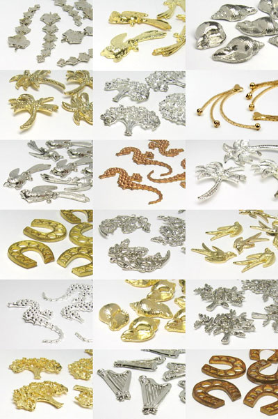 """Jewel component """"Multi Size Mix"""" 2-43mm (gold/silver)"""